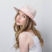 Pink Fedora Hat by Justine Hats | Wolf & Badger | Straw fedora hat in light pink, with grosgrain band