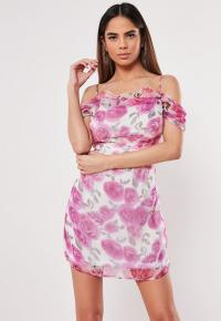 MISSGUIDED pink floral cold shoulder mini dress