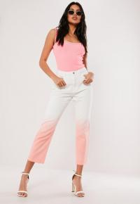 MISSGUIDED pink ombre wrath denim jeans