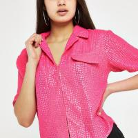 RIVER ISLAND Pink sequin embellished shirt – shiny shirts