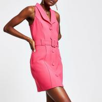 RIVER ISLAND Pink utility tux bodycon dress