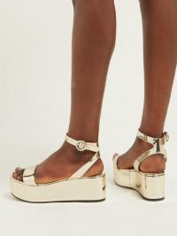 PRADA Platform metallic gold-leather sandals ~ luxe summer platforms