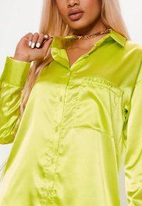 playboy x missguided lime oversized shirt – bright logo print shirts