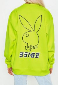 playboy x missguided lime slogan back sweatshirt – bright bunny prints