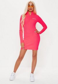 playboy x missguided pink zip front ribbed long sleeve mini dress ~ bright logo print dresses
