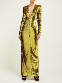 ALEXANDRE VAUTHIER Plunge V-neck sequinned gown | Matches Fashion