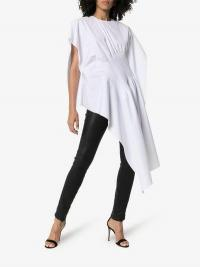Poiret Asymmetric Hem Cinched Waist Cotton T-Shirt in White | longline statement tee