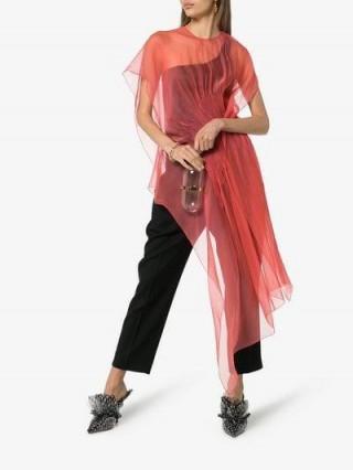 Poiret Asymmetric Hem Silk Top | sheer draped tops