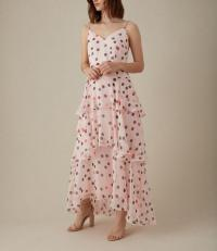 KAREN MILLEN ROYAL ASCOT COLLECTION Polkadot Tiered Maxi Dress Pink / Multi