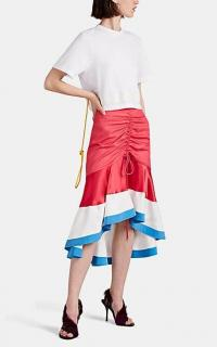 PRABAL GURUNG Binod Colorblocked High-Low Skirt ~ pink, white and blue colourblock ruched skirts