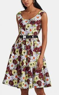 PRADA Floral Cotton Belted Midi-Dress ~ vintage style summer clothing ~ retro prints