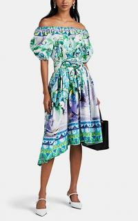 PRADA Floral Cotton Off-The-Shoulder Midi-Dress ~ summer bardot dresses