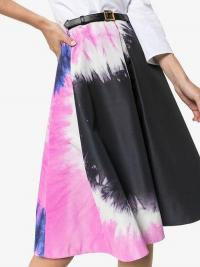 Prada Tie-Dye Faille A-Line Skirt Black and Pink