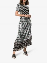 Preen By Thornton Bregazzi Addison Sequin-Embellished Diamond-Print Maxi Dress in Black / pink and green diamond harlequin patterned dresses