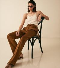 REISS PRIMROSE SATIN BELTED WIDE LEG TROUSERS TOBACCO ~ effortless style clothing