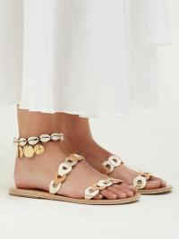 ANCIENT GREEK SANDALS Puka shell and coin charm leather anklet | summer holiday jewellery | sea inspired anklets