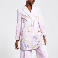 RIVER ISLAND Purple floral blazer dress – belted jacket dresses