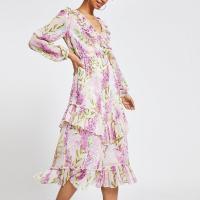 RIVER ISLAND Purple floral frill maxi dress – ruffled summer dresses