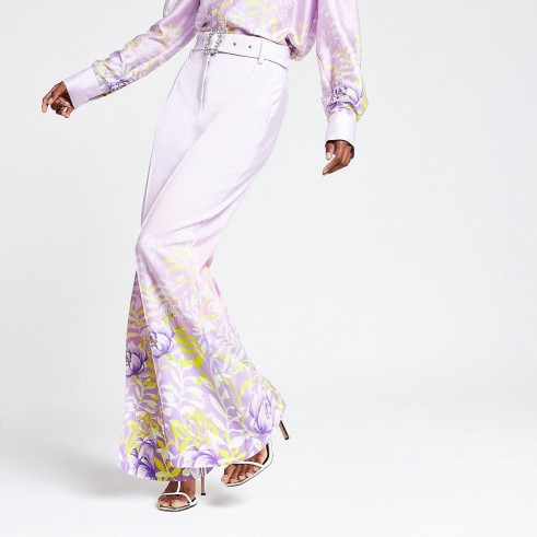 RIVER ISLAND Purple floral wide leg trousers – flower print pants