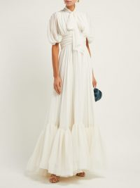 GIAMBATTISTA VALLI Pussybow draped silk gown in white ~ dream event gowns