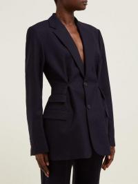 JACQUEMUS Raffaela navy basketweave wool blazer ~ dark-blue fitted jacket