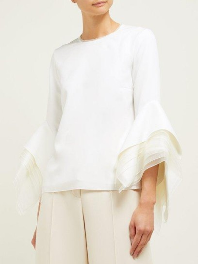 ROKSANDA Rana tiered fluted organza-cuff cady top in white ~ lace trimmed neck detail