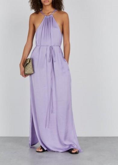 RAQUEL ALLEGRA Lilac halterneck satin maxi dress ~ long fluid halter dresses