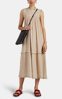 RAQUEL ALLEGRA Puckered Cotton Gauze Maxi Dress in beige ~ ruffle trimmed summer dresses