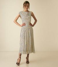 REISS RAYA STRIPED ASYMMETRIC MIDI DRESS MULTI ~ angled neckline dresses