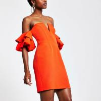 RIVER ISLAND Red ruffle sleeve bodycon dress – fitted party dresses