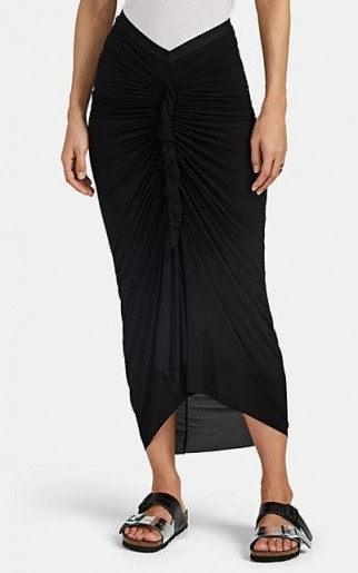RICK OWENS Ruched Jersey Maxi Skirt in Black ~ long front gathered skirts
