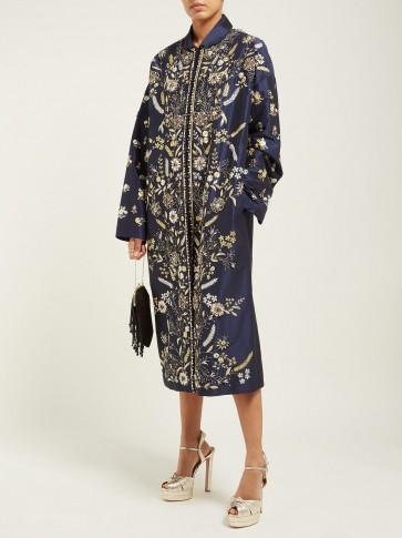 BIYAN Risjavik crystal-embellished cotton-blend coat in navy / luxe floral coats