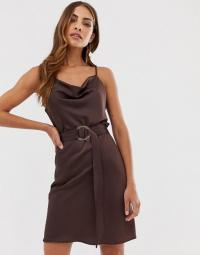 River Island slip dress with belt in chocolate | dark-brown cami dresses