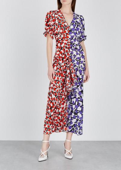 RIXO Ariel floral-print silk midi dress in red and purple
