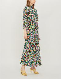 RIXO Lucy floral-print silk crepe de chine midi dress in camo tulip ~ multi-coloured front ruffled dresses