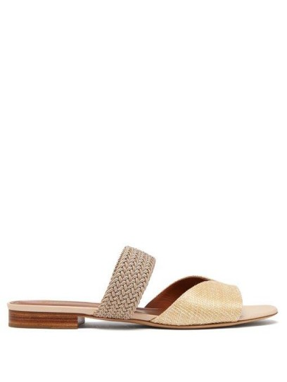 MALONE SOULIERS Rodena woven raffia and canvas slides in cream | summer flats