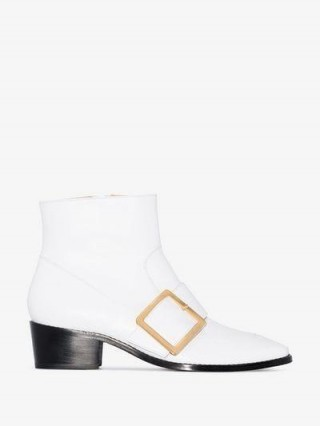 Roker White Whickham 35 Buckled Leather Ankle Boots / retro footwear