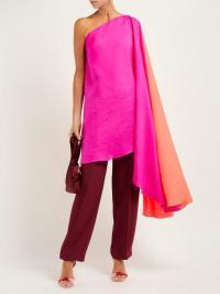 ROKSANDA Asymmetric silk-organza top in pink and orange