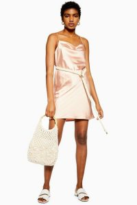 Topshop Rope Belt Mini Slip Dress in Pale-Pink | belted cami frock