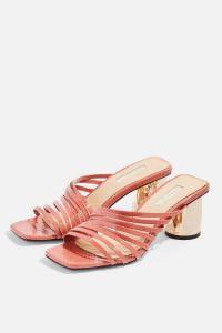 TOPSHOP ROSEBEL Blush Strappy Mules – shiny block heels