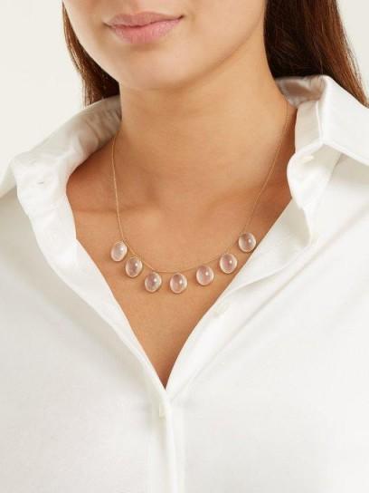 SUSAN FOSTER Rose-quartz & yellow-gold necklace ~ pale-pink stone necklaces