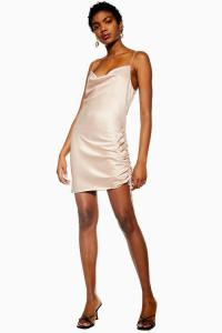 Topshop Ruched Mini Slip Dress in Blush | pale-pink cowl-neck cami frock