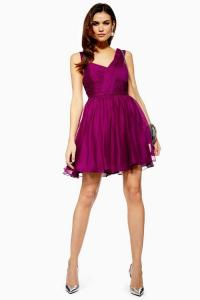 Topshop Ruched Purple Mini Dress | fit and flare party dresses