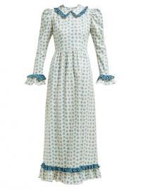 Prairie dresses | BATSHEVA Ruffled floral-print cotton dress in blue