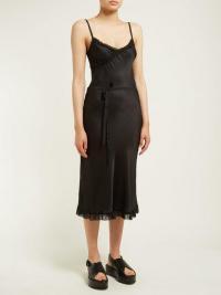 ANN DEMEULEMEESTER Ruffle-trimmed tie-waist satin dress in black | luxe cami frock