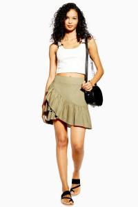 Topshop Sage Linen Rich Wrap Mini Skirt | green frill hem skirts