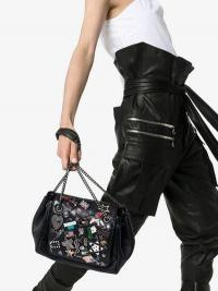 Saint Laurent Black Nolita Small Badge Embellished Leather Shoulder Bag
