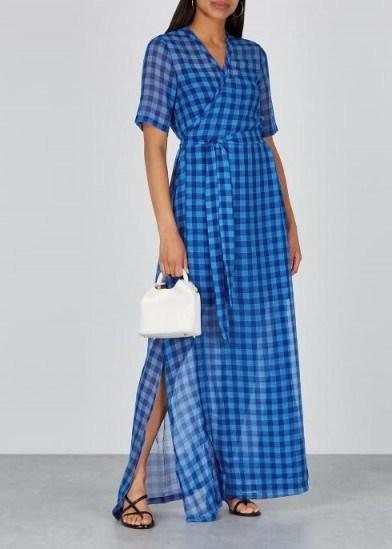SAMSØE & SAMSØE Mante blue gingham chiffon maxi dress ~ effortless summer style - flipped