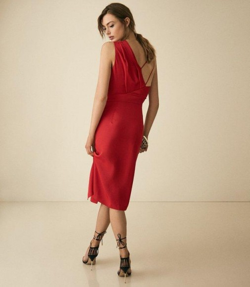 REISS SARA RED ONE SHOULDER COCKTAIL DRESS ~ strappy back detail dresses