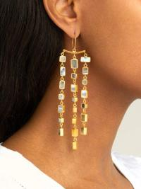PIPPA SMALL TURQUOISE MOUNTAIN Sasaani agate and gold-vermeil drop earrings